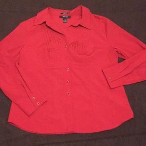 Style & Co stretch button down long sleeve blouse